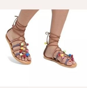 Mossimo Gladiator Pom Pom Sandals Camel Multicolor